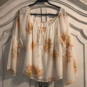 Nordstrom Romantic blush and Cream blouse XL